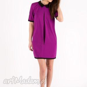 Sukienka Fuchsia Bebe Dress, sukienka, luźna, oversize, różowa, kołnierzyk, kieszenie