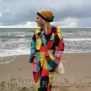 czapka damska patchworkowa na podszewce handmade, damska, etno