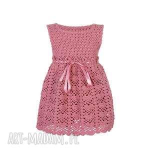 Sukienka dziewczęca różowa z kwiatkami., sukienka, dziewczęca, wełniana,