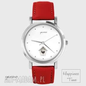 zegarki zegarek - domek dla ptaków skórzany, czerwony, zegarek, bransoletka