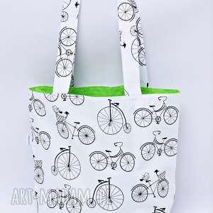 Torba na zakupy shopperka rower zielona podszewka, torba, shopperka, rower, szoperka