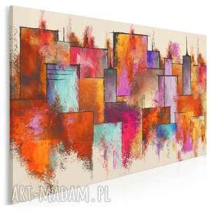 obraz na płótnie - miasto budynki kolorowy 120x80 cm 86601, miasto