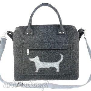 Anthracite chest & dog on pocket - ,torebka,kuferek,piesek,