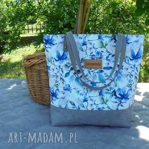 sopper bag niebieskie listki, shopper, modna torba, torba w kwiaty, szara