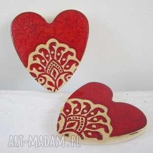 ślub dwa serduszka magnesy, folkowe, ceramiczne, serduszko, podziękowania