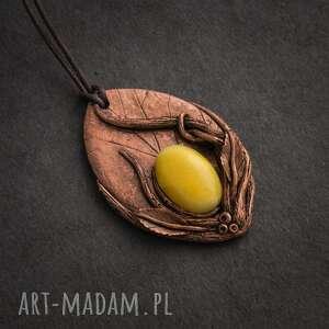 wisior z żółtym jadeitem, jadeit, wisior, wisiorek, natura, liść, elfy biżuteria