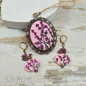 komplet biżuterii z motywem lawendy w stylu vintage, lawenda, biżuteria
