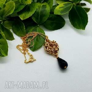 hand made naszyjniki zawieszka chainmaille na pozłacanym łańcuchu - czarny