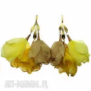 słoneczne kolczyki do letniej sukienki żółte c860, kwiaty, szyfonowe
