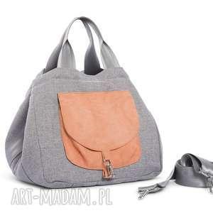 na ramię torba big duo normal - jasny popiel brzoskwinia, wielofunkcyjna, stylowa