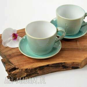 ręcznie lepione duże filiżanki - kubeczki ceramiczne z motywem roślinnym