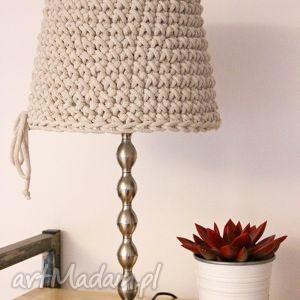 Lampa nocna LIGHT DARK, abażur, klosz, lampka, sznurek, dziergana,