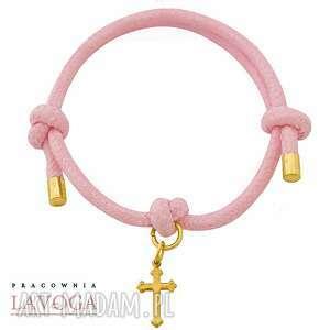 ręczne wykonanie bransoletki pastel pink twine with cross