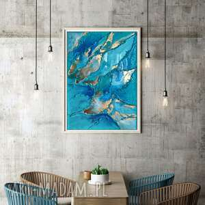 obraz ręcznie malowany 70x50 cm - macarella - do salonu, nowoczesny