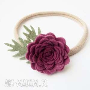 ROSES Opaska z kwiatuszkiem mullberry, opaska, filc, sesjafoto, różyczka, niemowlęca