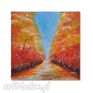 aleja, nowoczesny obraz ręcznie malowany, drzewa, obraz, nowoczesny,