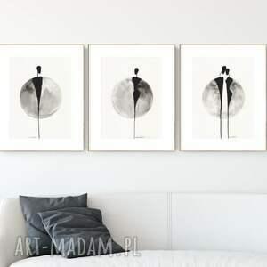 plakaty zestaw 3 grafik 30x40 cm wykonanych ręcznie, grafika czarno-biała