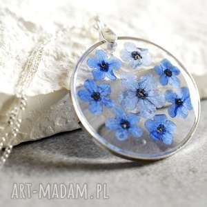 ręcznie zrobione naszyjniki 925 ♥ prawdziwe kwiaty niezapominajki ♥ srebrny łańcuszek