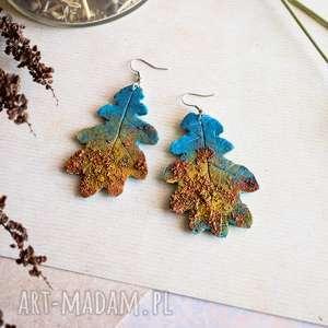kolorowe kolczyki liście dębu, jesienne liście, kolczyki