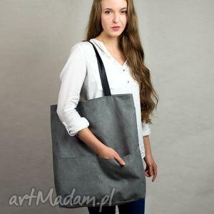 Kangoo L G. the Grey , torba, szara, wielka, zamszowa
