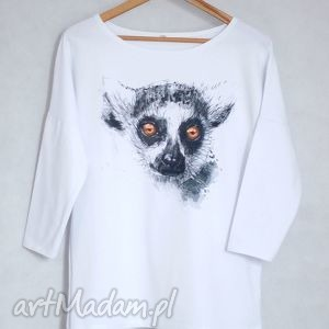 LEMUR bluzka bawełniana oversize L/XL biała, bluzka, bluza, koszulka, bawełna, nadruk