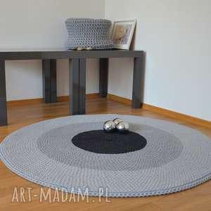 dywan okrągły ze sznurka bawełnianego - trzy szarości 110 cm, dywan, na