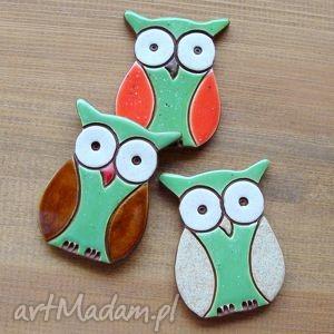 handmade magnesy sowy trzy