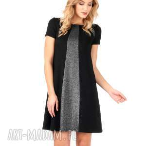 Czarna brokatowa sukienka ze srebrną wstawką., lalu, sukienki, sylwester