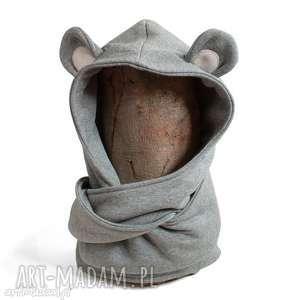 handmade ubranka komin z kapturem dla dziecka - myszka