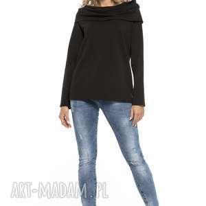 bluza z szerokim kominem, t255, czarna, bluza, szeroki, komin, dzianina, bawełniana