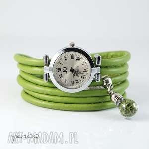handmade zegarki zegarek, bransoletka - zielony mech