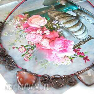 naszyjnik miedziany kolia agat ze stylizowaną różą, krótki kolia