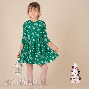 dziecięca sukienka śnieżynka zielona, śnieżynki, zielona, rozkloszowana, święta