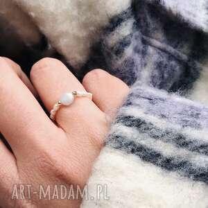 Pierścionek - akwamaryn in stones akwamaryn, hematyt, perły