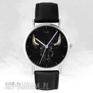 ręcznie wykonane zegarki zegarek - byk czarny, skórzany, unisex
