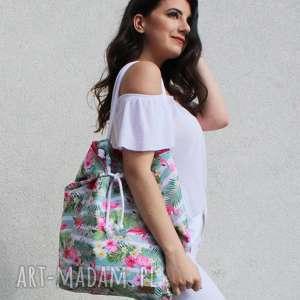 na ramię duża torba miasto i plażę różówe flamingi, plażowa