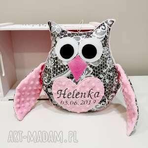 personalizowana sowa, ozdobna poduszka z imieniem dla dziecka