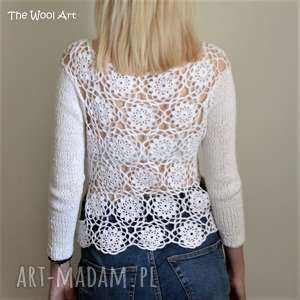 handmade swetry sweterek z ażurowym tyłem