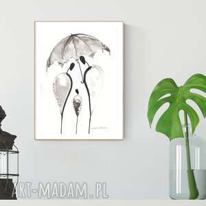 grafika A4 malowana ręcznie, minimalizm, abstrakcja czarno-biała, ilustracja