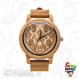 Drewniany zegarek ludowe serce zegarki ludowelove folk, etniczne