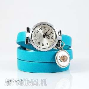 Prezent Zegarek, bransoletka - Lisek niebieski, skórzany, zegarek,