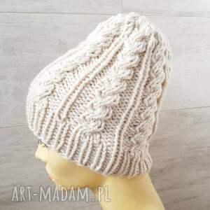 albadesign gruba czapka beanie warkocze bez ecri rozmiar m / l unisex