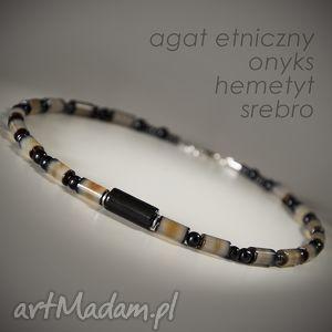 Naszyjnik męski etniczny z agatu, agat, onyks, srebro, meski,