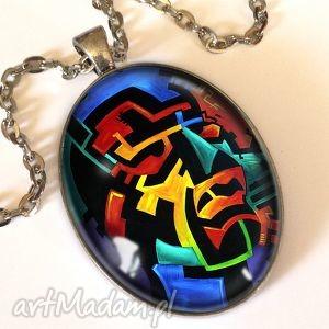 kolorowe myśli - owalny medalion z łańcuszkiem - artystyczny