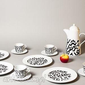 viva larte komplet deserowy z motywem paula klee, serwis, porcelana, filizanka