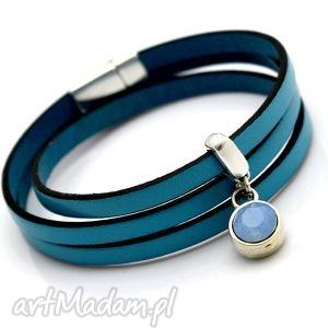 Bransoletka skóra magnetoos pastell blue cristal beezoo