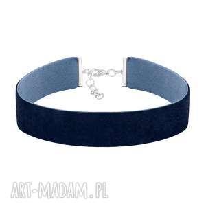choker wide - navy blue velvet, aksamit, choker
