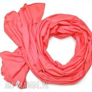KORALOWY szal szalik bawełniany damski na WIOSNĘ, modny chusta 100% bawełna