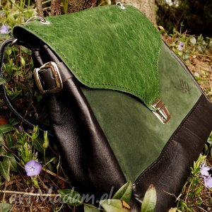 na ramię józefina czarno-zielona torba a4, zielona, skóra, czarna, kuferek