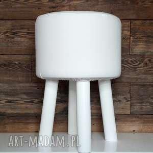 pufa biała gładka 2 - 45 cm białe nogi, puf, taboret, hocker, vintage, puff